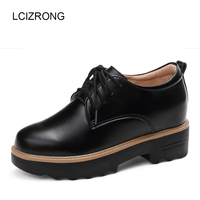 LCIZRONG Fashion Women Leather 7CM Platform Shoes Height Increasing Ladies Flats Shoes Spring Classic Famous Flat Shoes Black