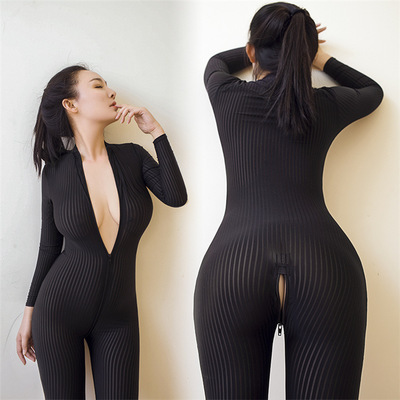 2019 Brand New Mulheres Listrado Preto Sheer Bodysuit Fibra Lisa 2 Zipper Manga Comprida Macacão