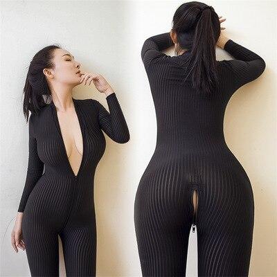 2019 nova marca feminina preto listrado puro bodysuit fibra lisa 2 zíper manga longa macacão