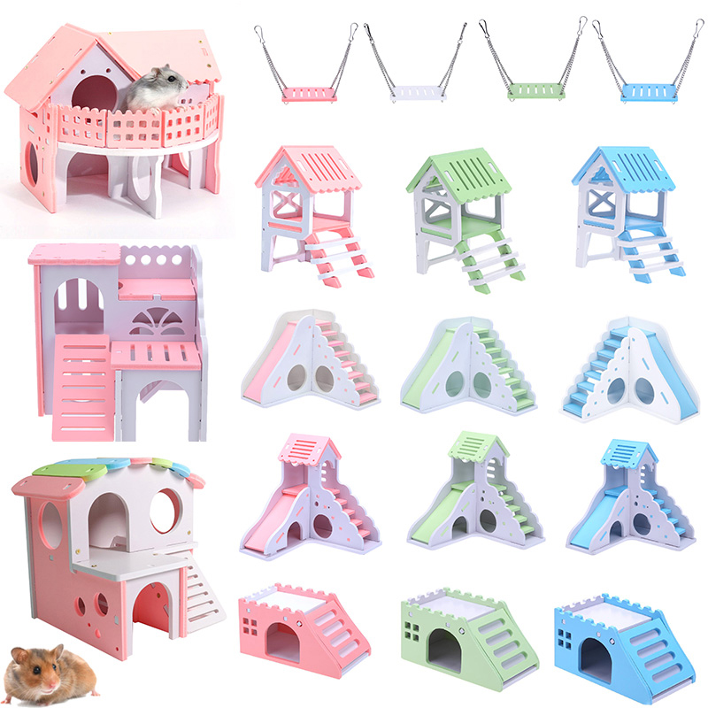 1PCS Hamster Luxury House Cartoon Hamster Toy Nest Small Animal Wood House Bed Cage Nest Pet Hedgehog Castle Swing Toy Pet House