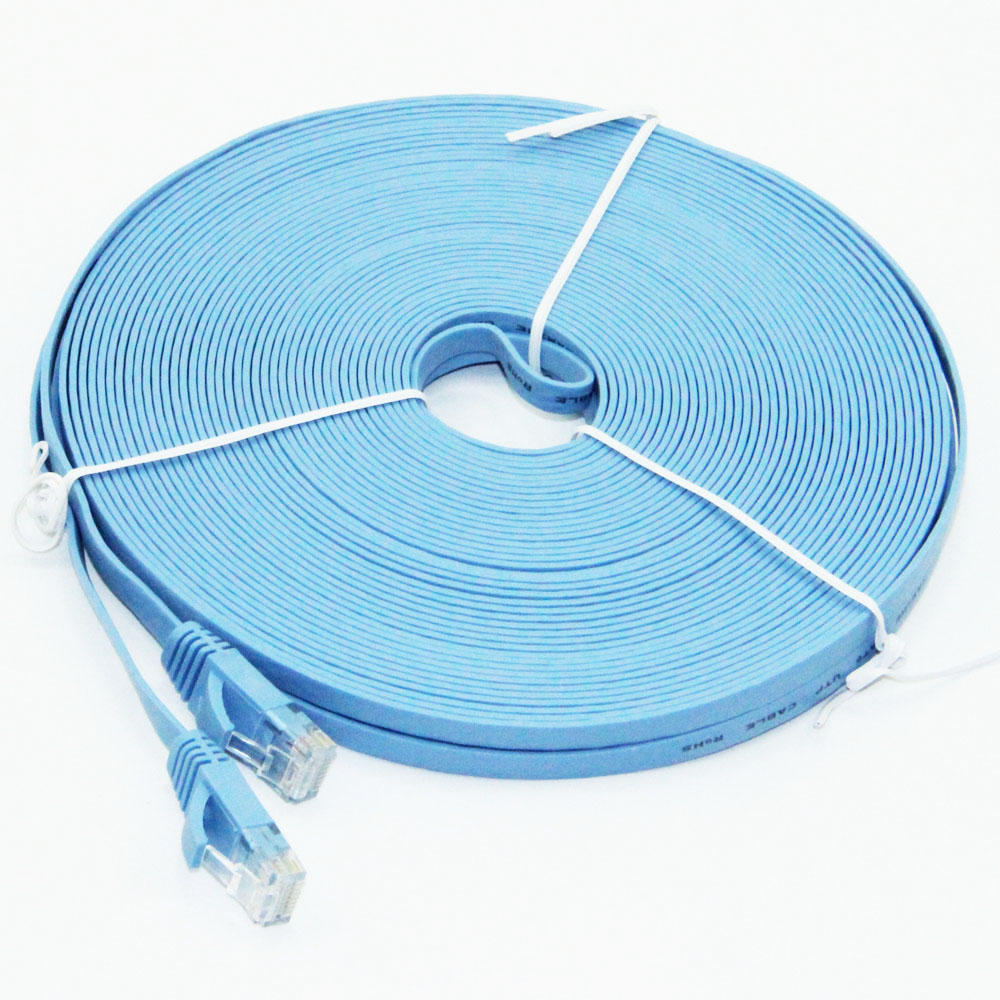 25m Flat CAT-6 RJ45 Network Ethernet Patch Cable For Modem Router LAN Network RJ45 Connector