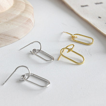 100% S925 Sterling Silver simple line ear Drop geometric Hollow oval Square earrings female Woman Gift silver ornaments