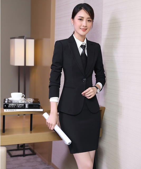 Charmant Formal Female Black Blazer Women Skirt Suits Work Wear Suits Ladies Office  Uniform Designs Styles