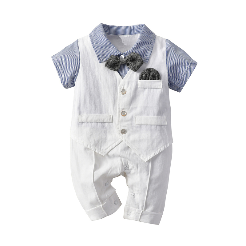 2019 Formal Newborn Infant Baby Boys Casual   Romper   Jumpsuit Cotton Short Sleeve Clothes Summer Sunsuit Outfits Fake Two Pieces