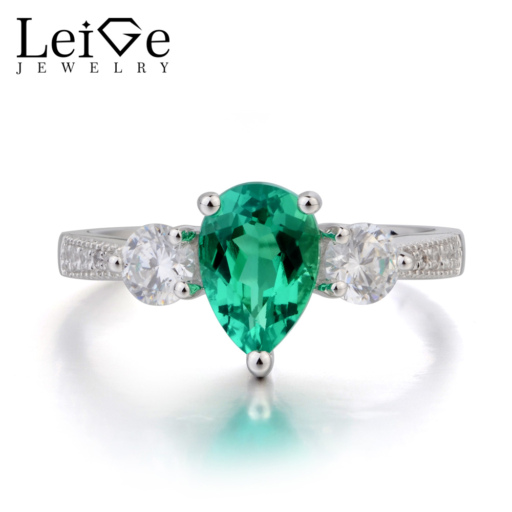 Leige Jewelry Lab Emerald Ring Anniversary Ring Pear Cut Green Gemstone May Birthstone 925 Sterling Silver Ring Women Jewelry leige jewelry emerald engagement rings for women pear shaped ring sterling silver 925 fine jewelry green gemstone may birthstone