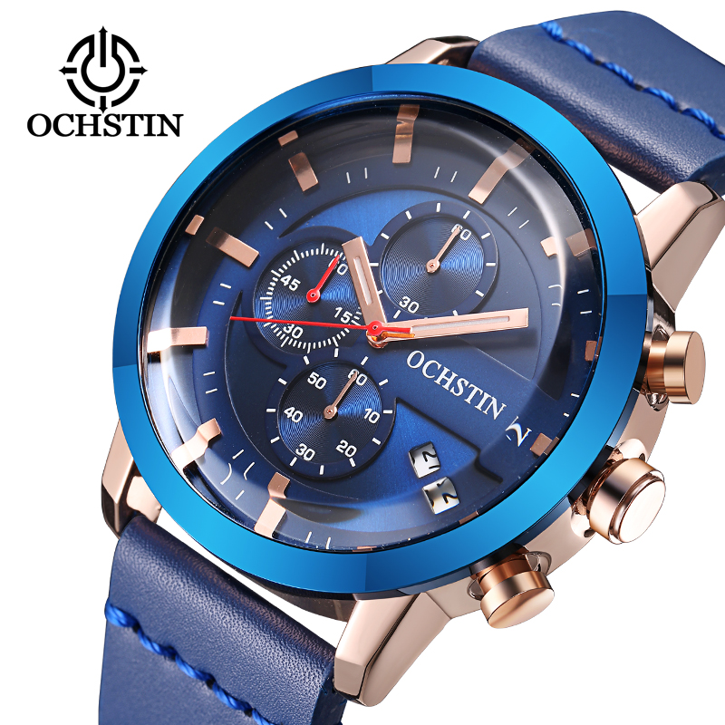 OCHSTIN Brand Sport Men Watch Top Brand Luxury Male Leather Waterproof Chronograph Quartz Military Wrist Watch Men Clock saat watch men ochstin top luxury brand designer military quartz watch silicone business black sport quartz watch male wristwatch