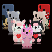 For Xiaomi Redmi Note 7 3D Silicon Unicorn Minnie Mickey Cartoon Soft