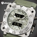 Infantry marca cuarzo de los hombres relojes 30 m impermeable militar de hora dual relojes hombres auto fecha relojes luminosos relojes de goma