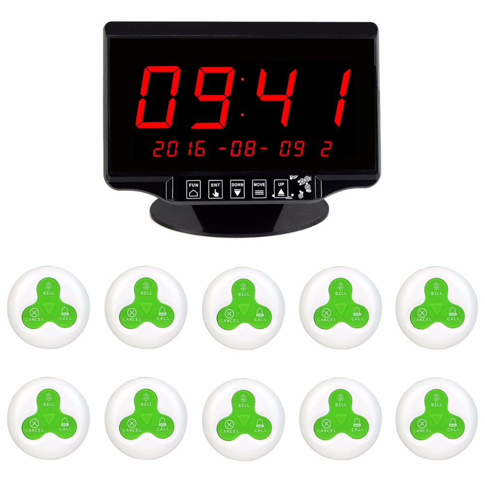 Wireless Restaurant Ordering System 433MHz Waiter Call Bell Pager System With 1 LED Voice Receiver Host Display + 10 Call Button restaurant call service bell table bell 6 watch receiver with 30 pager button free shipping