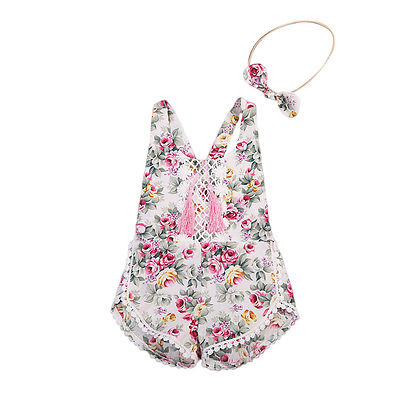 Infant Newborn Baby Girl Floral Romper Taseel Backless Jumpsuit Playsuit Headband 2pcs Summer Toddler Infant Onesie Clothes newborn baby backless floral jumpsuit infant girls romper sleeveless outfit