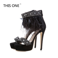 summer fashion sandals feathers back zipper open toe high heels stilettos ankle strap shoes sexy women ankle strap plus size 43