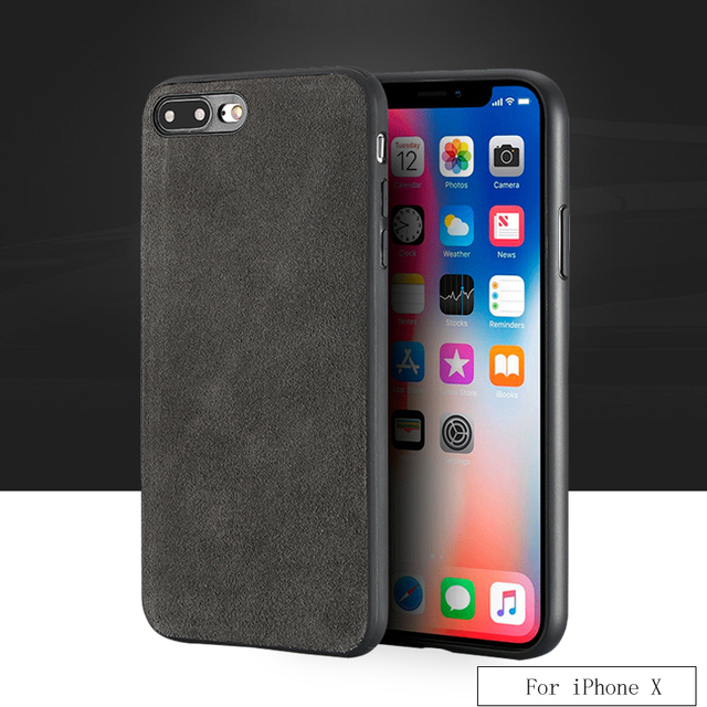 best service 8757a 2e2c0 US $11.4 24% OFF|For iPhone X case Suede leather all inclusive Ultra slim  shock resistant back cover For iPhone 6 6S 7 8 Plus SE 5 5S phone case-in  ...