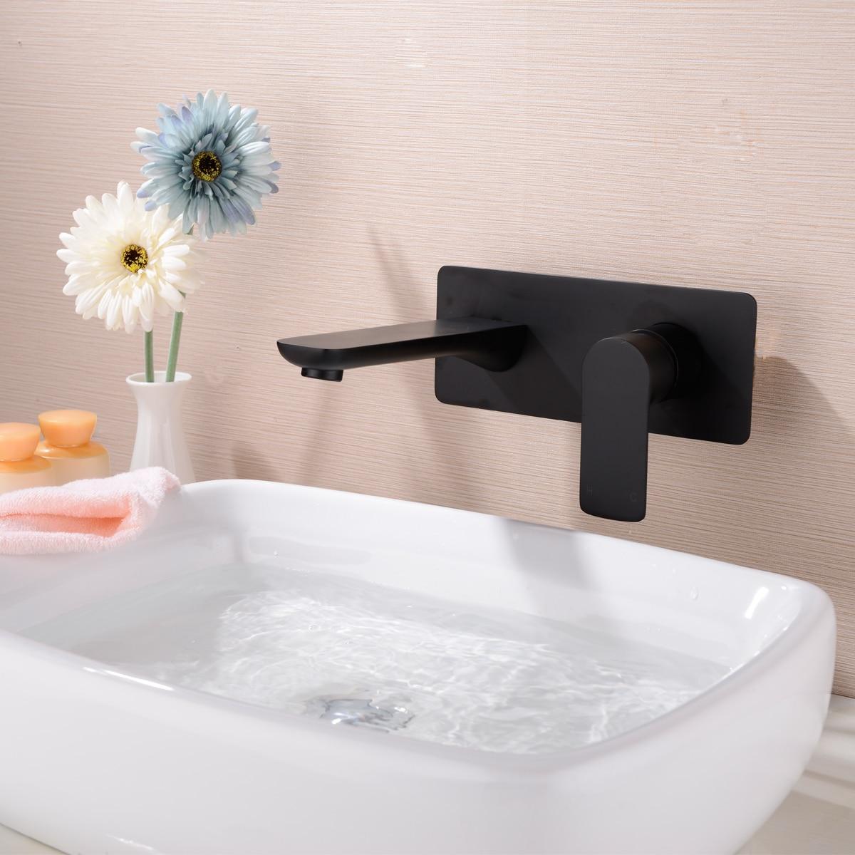 Robinet de lavabo dissimulé noir tout cuivre robinet de type mural mélangeur chaud et froid robinet mural caché