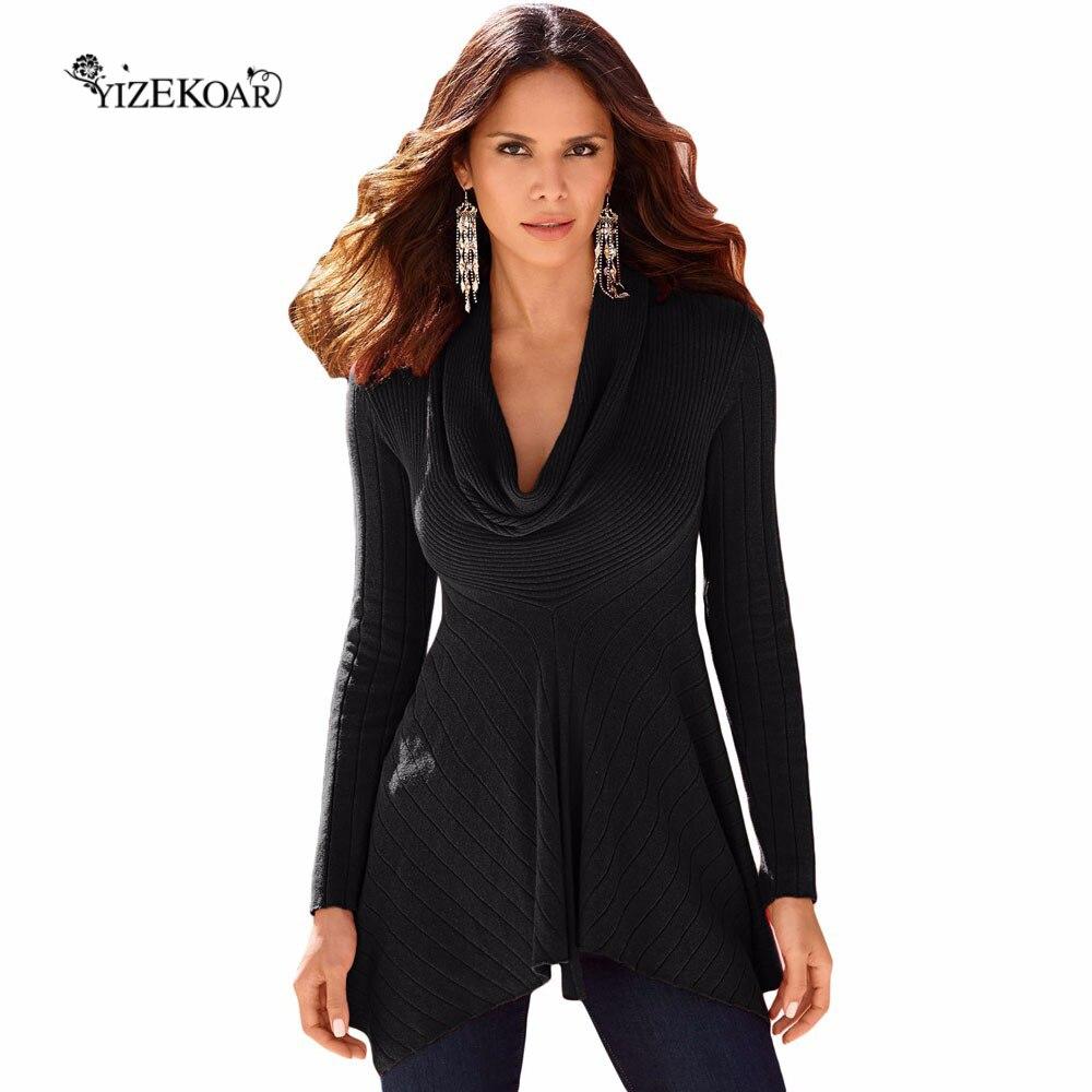 2018 Yeni Sonbahar Kış kadın Moda Kazak Siyah Kırmızı Beyaz Düzensiz Etek Boyu Kukuletası Boyun Kazak DL27631
