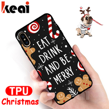 Soft TPU Silicone Christmas Pattern Phone Cases For iPhone X XR XS Max Shockproof Back Cover For iPhone 6 6S 7 8 Plus Case Coque цена и фото