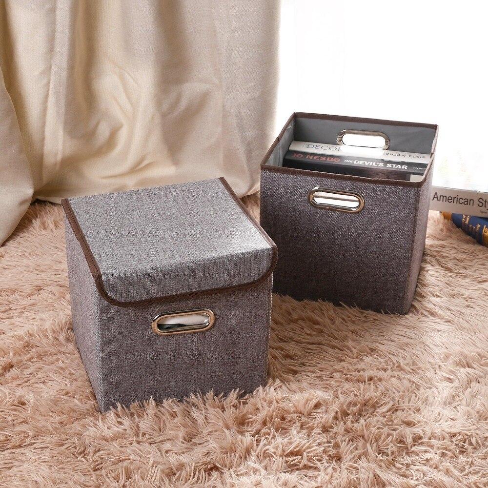 Soft White Kids Toy Chest Wood Box Bin Storage Organizer: Square Folding Linen Cotton Clothes Storage Bins Closet