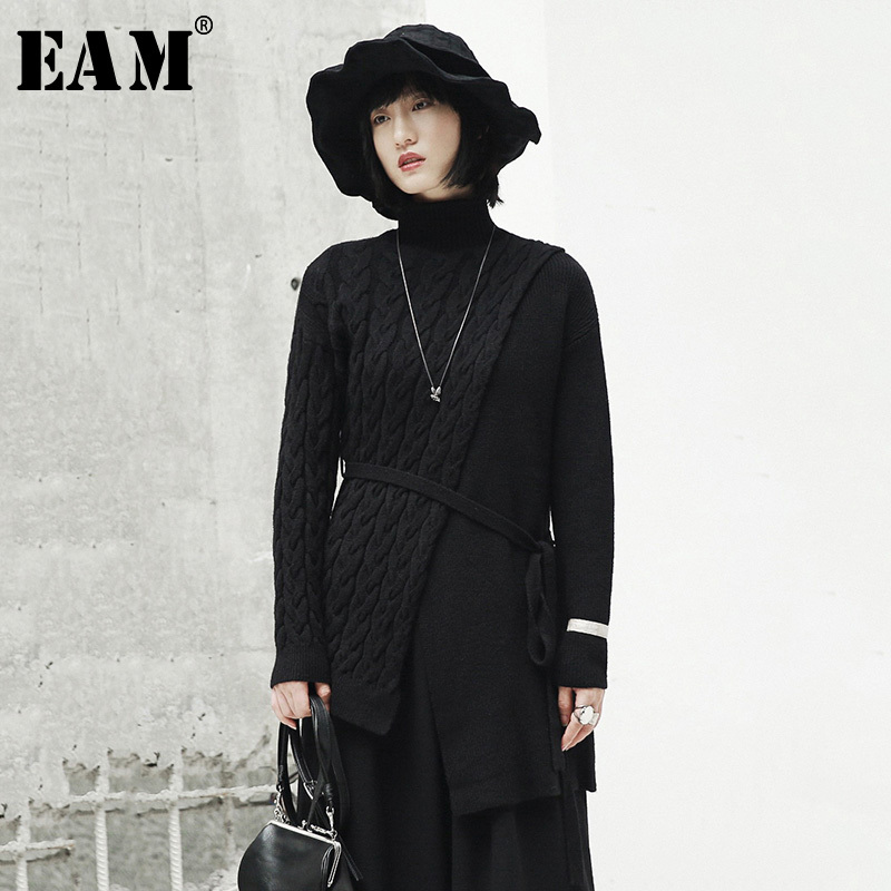 [EAM] 2019 New Spring High Collar Long Sleeve Black Loose Irregular Knitting Bandage Sweater Women Fashion Tide JI506