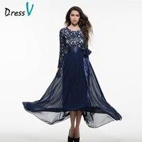 DressV Scoop Neck Dark Royal Blue Long Evening Dress Elegant Cotton Blends Floor Length Long Sleeves