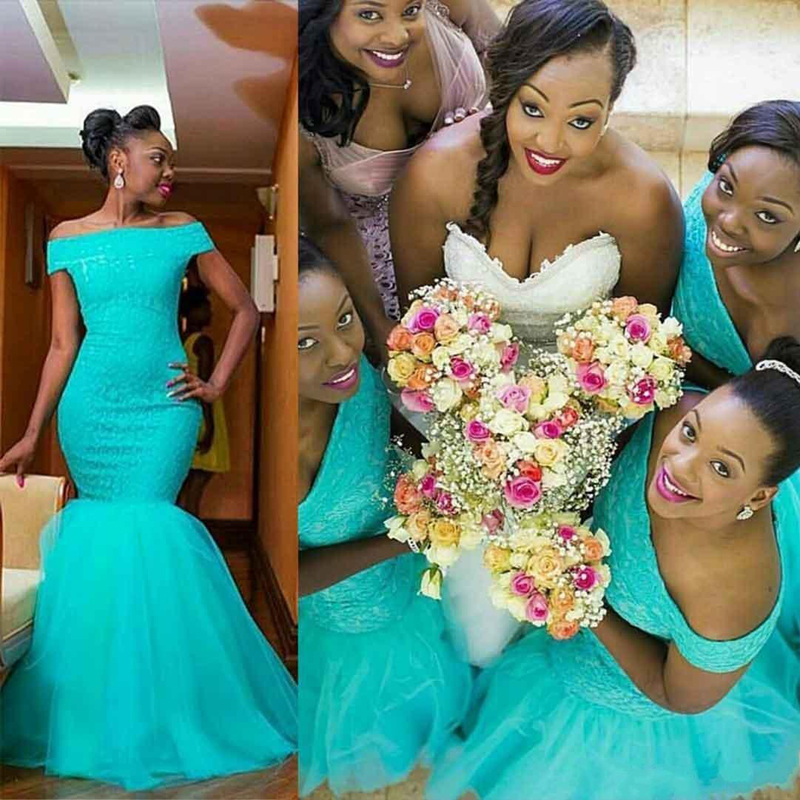 2019 Elegant Turquoise Long   Bridesmaid     Dresses   Mermaid Off Shoulder South African Tulle   Dress   Maid of Honors   Dresses
