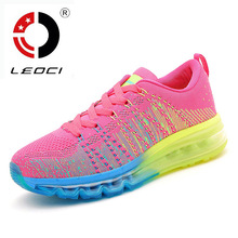 LEOCI Full Air Sole Running Shoes For Women Flywire Women Sneakers Runners Shoes Sport Shoes Zapatillas Mujer Deportivas