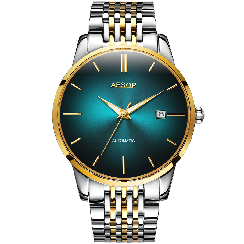 Luxury AESOP watch men ultrathin dial tainless steel waterproof automatic machine date wristwatch relogio masculine