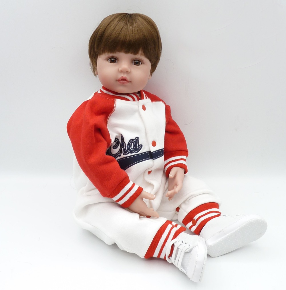 "Buy New reborn babies dolls 22"" 55cm soft silicone dolls reborn realistic bebe boy reborn bonecas children gift dolls"