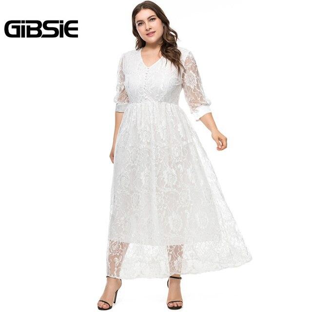 GIBSIE Plus Size Spring Summer Women V-Neck Half Sleeve Lace Long Dress Party Elegant Black White High Waist Dress Vestidos