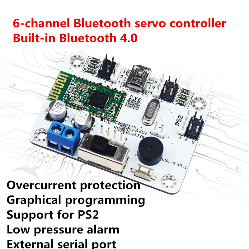 6 Channels bluetooth Robot Servo Control Board /controller/robot arm control /PS2 remote control for DIY Biped robot new 17 degrees of freedom humanoid biped robot teaching and research biped robot platform model no electronic control system