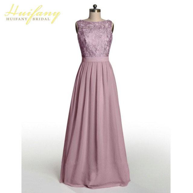 072f58386442 Dusty Rose Bridesmaid Dresses Scoop Neck Top Lace Backless Chiffon Long  Floor Length Wedding Guest Dress