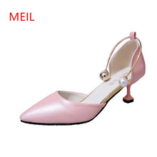 2018Woman Sexy Pointed Toe Stiletto Low Heels Pumps Ladies Lolita Bridal Party Wedding Dress Shoes Women Black Pink Office Shoes creativesugar see through lace mary jane vintage style med low heels bridal wedding party prom black white ivory pink shoes