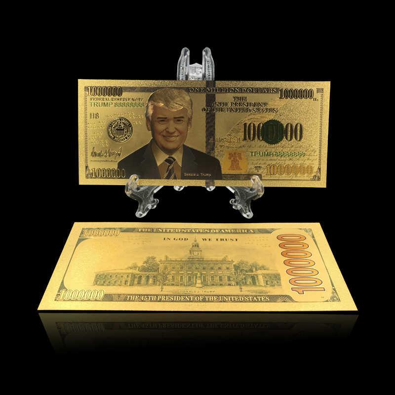 1 шт. цветные американские Золотые банкноты $1 миллион долларов сувенир банкноты подарки коллекция деньги с показ стенд
