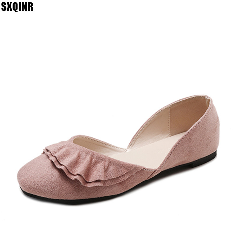 Flat Shoes Woman Loafers Boat Shoes Women Flock Ballet Flats High Quality Women Shoes 2018 Summer New Fashion Ruffles Flats brand new fashion casual loafers sweet pink white women flats solid summer style shoes woman 5 colors ballet flats