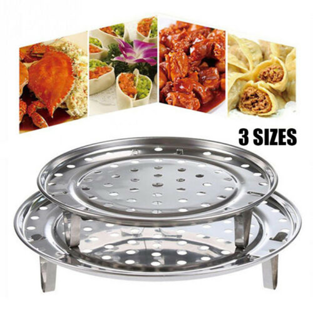 2019 New Stainless Steel Cooking Steamer Three Legged Shelf Multifunction Round Steamer Rack Steaming Stand Kitchen Cooking Tool