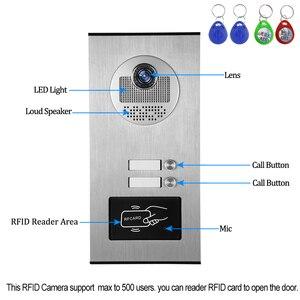 Image 2 - 7 TFT צבע וידאו אינטרקום המצלמה RFID עם 2 צגים + Strike מנעול חשמלי + שלט רחוק אלחוטי לפתוח עבור 2 דירות