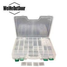1 Unid venta Caliente PP Material Multifuncional Caja 29.5*22*6 cm De Doble capa de Plástico de Pescado caja de la Caja Ganchos señuelo de la Pesca