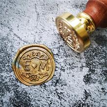 DIY dostosuj podwójną nazwę 2 inicjały spersonalizowane stempel z literą wosk uszczelniający ślubna woskowa pieczęć pieczęć niestandardowe zaproszenia koperty tanie tanio XunMade custom seal stamp Standardowy znaczek Metal Spersonalizowane motto