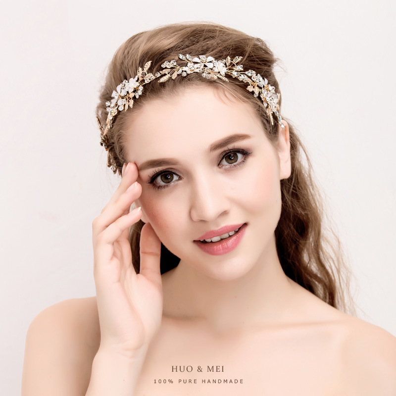 Handmade Women Headband Crystal Pearl Hair jewelry ...