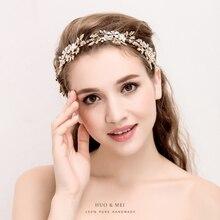Handmade Women Headband Crystal Pearl Hair jewelry Forehead Hair Ornaments Bridal Flower Crown Brides Wedding Hair Accessories