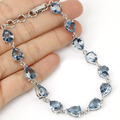 Gorgeous London Blue Topaz Created SheCrown Woman's   Silver Bracelet Length 8inch 15x7mm