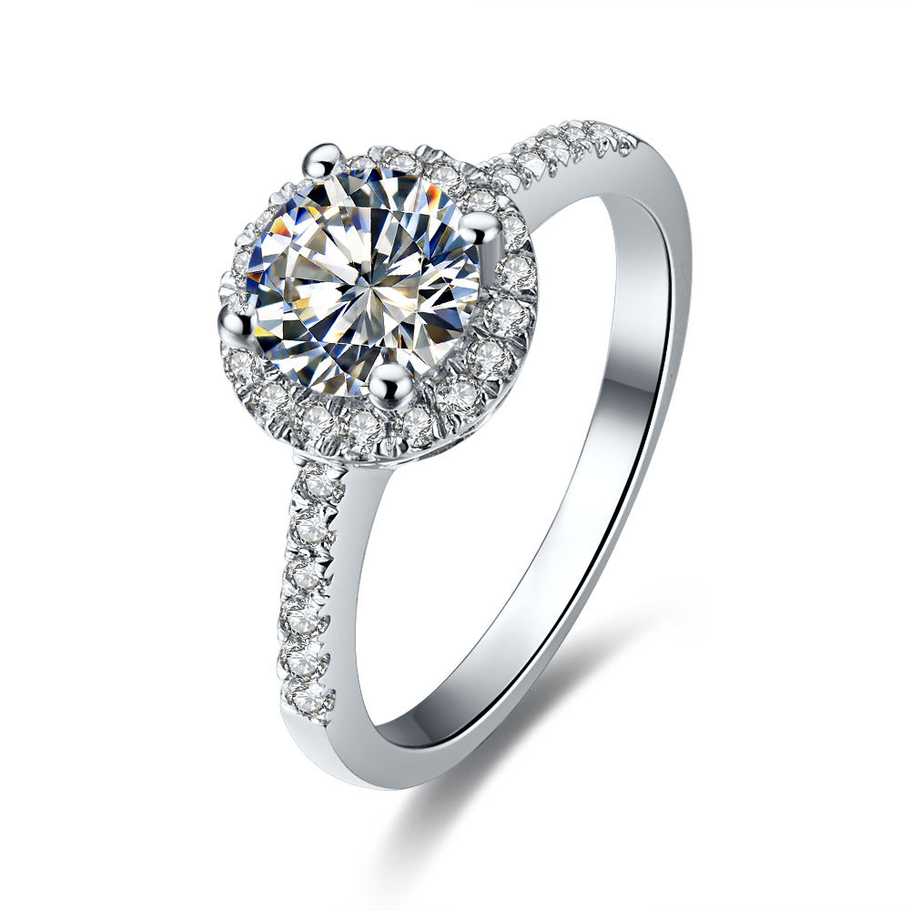 05ct Halo Paved Round Excellent Cut Synthetic Diamonds Engagement Ring  Bridal Sterling Silver Jewelry White