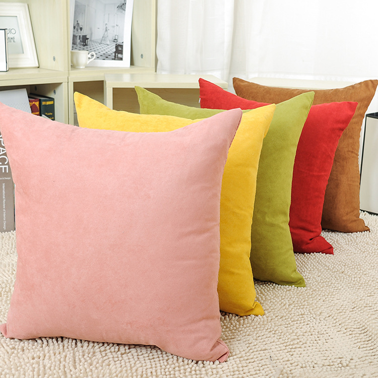 Suede Fabric Solid Color Simple Pillow Covering Linen Cushion Cover Throw Seat Sofa Car ...