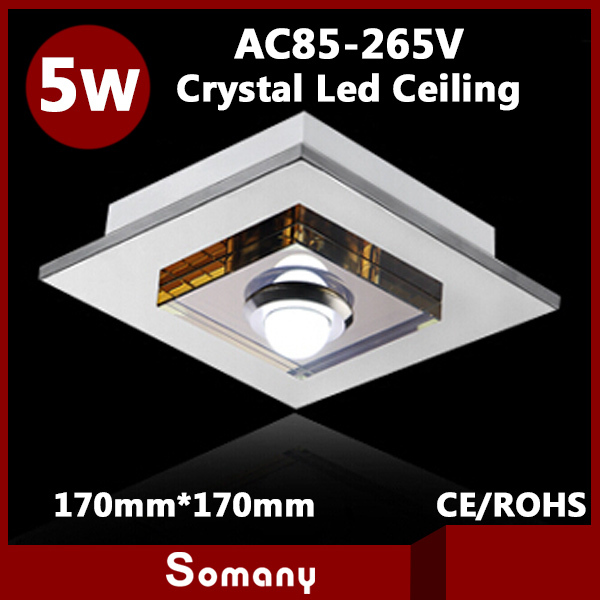ФОТО 4pcs Modern 5730SMD Living Room Mounted/Recessed Led Ceiling lamp Stainless Steel Square Crystal 5W Led Ceiling Light 17cm*17cm