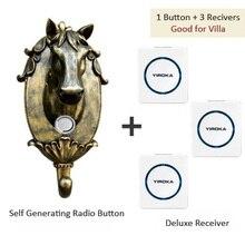 Дверной звонок беспроводной домашней без батареи электронных водонепроницаемый пульт дистанционного управления 1 кнопка + 3 приемники, free shipping
