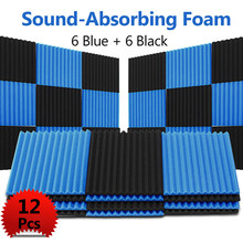 12pcs Soundproofing Acoustic Wedge Studio Foam Wall Panels for KTV Audio Room Studio Room For KTV,Home Theater Black + Blue Foam(China)