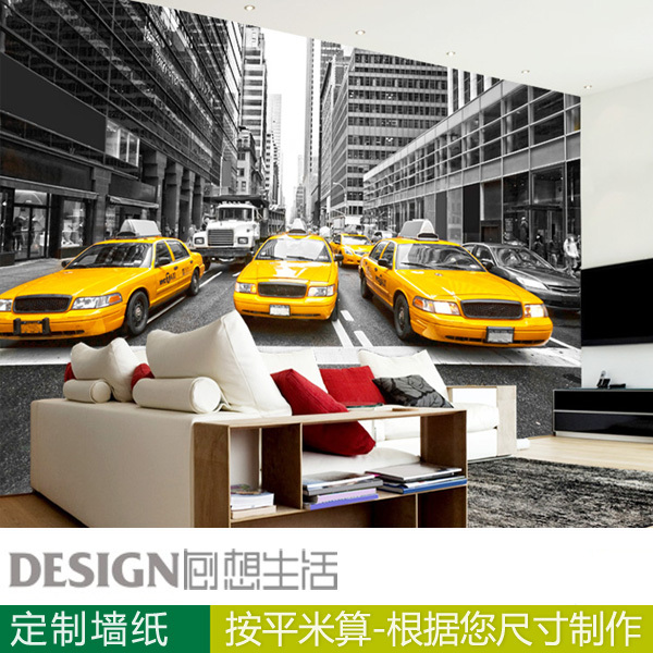 New York Yellow Taxi 3d Wallpaper The Background Wall Paper Of Black And  White Living Room Part 43
