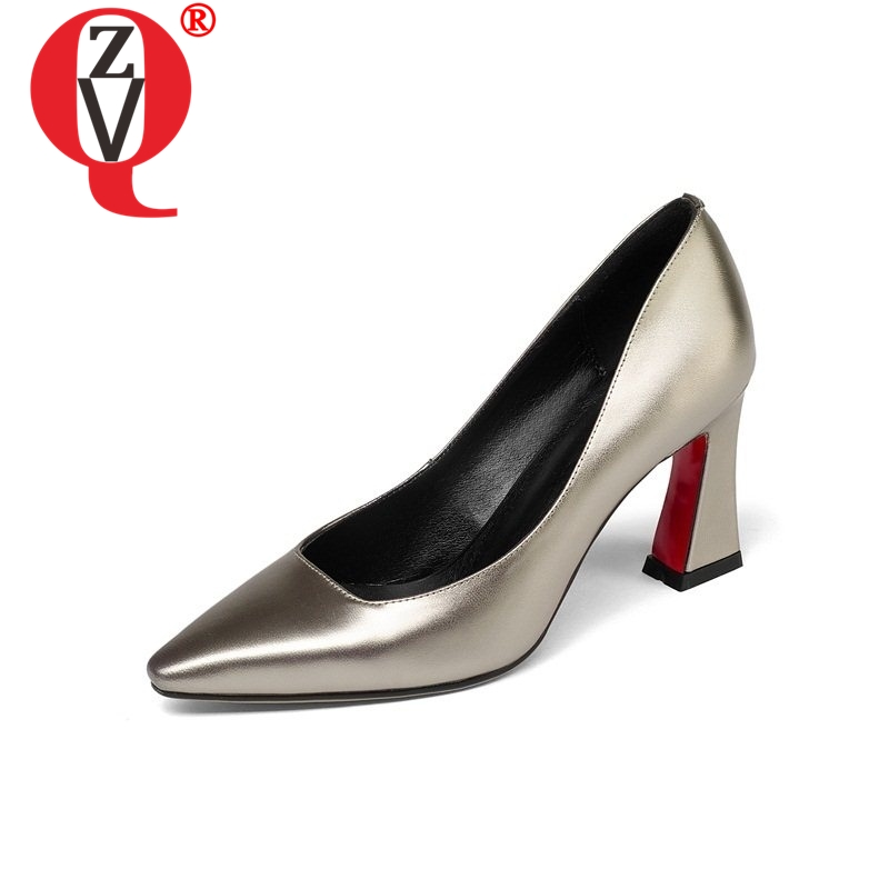 ZVQ high quality zapatos mujer genuine leather woman manual high heels ladies pointed toe pumps fashion