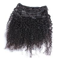 3B 3C Crépus Bouclés Clip Dans Les Cheveux Humains Extensions Nautral Couleur Clip-en Pleine Tête 7 Pcs Brésiliens Remy Cheveux 120G Ensoleillé Reine