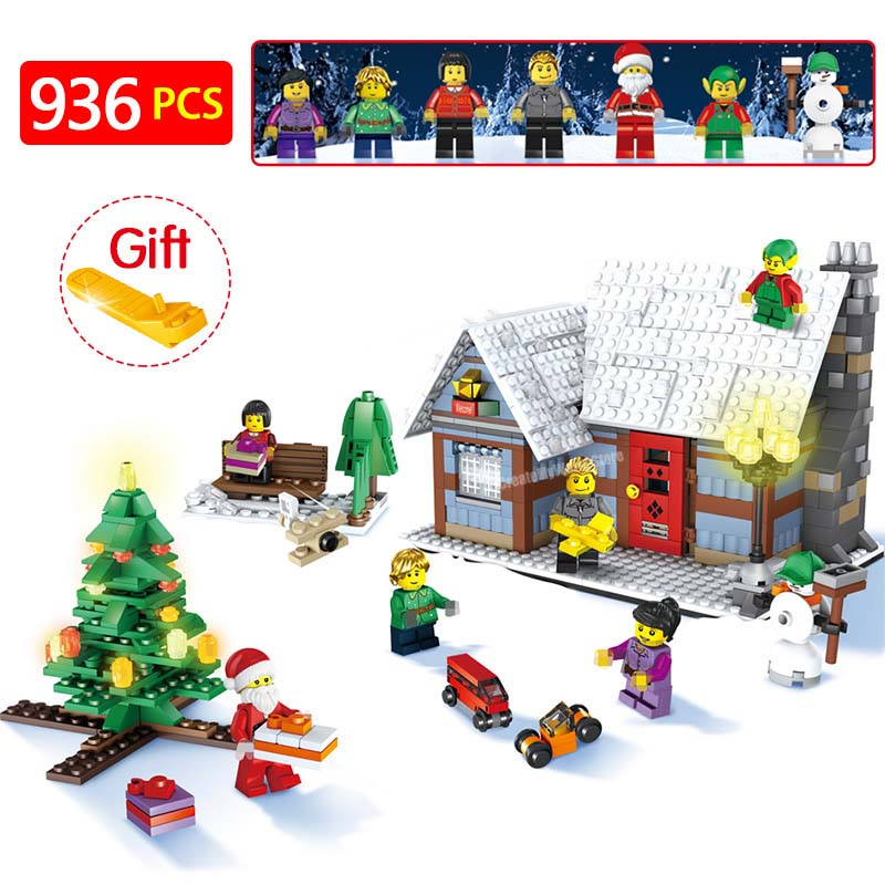 Hut With Christmas Tree Compatible LegoINGLY Christmas Snowman Winter Village Cottage Building Blocks Brick Toy Gift 936pcs