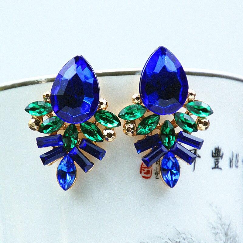 E0199 Luxus Frauen Wasser Design Blauen Kristall Ohrringe Marke Neue Strass Ohrringe Modeschmuck Valentinstag Geschenke Schmuck & Zubehör
