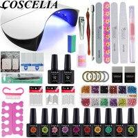 COSCELIA Gel Nail Polish Kit Set 36W UV LED Lamp For Nail Manicure Set 10pc Gel Varnishes Nail Tools Decorations For Manicure